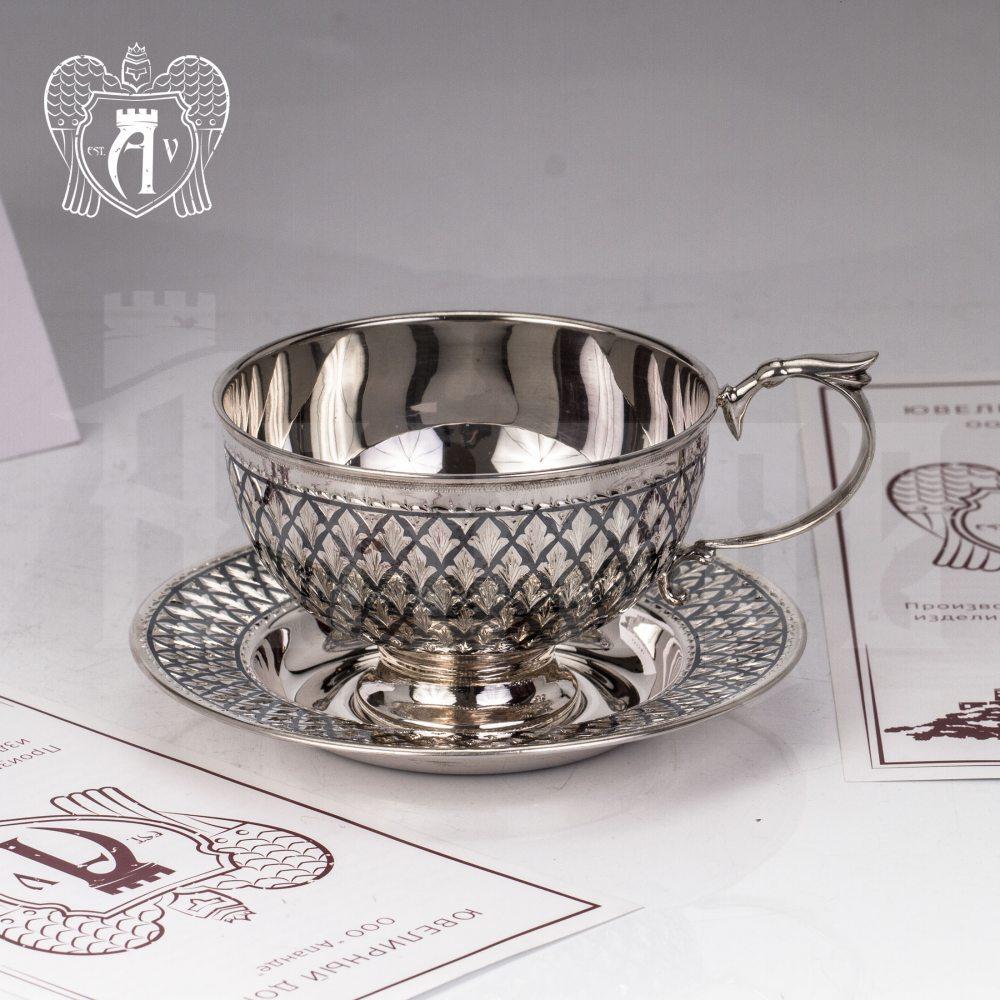 """Чашка с блюдцем из серебра """"Княжеская"""" Апанде, 32009144"""