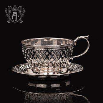 """Чашка с блюдцем из серебра """"Княжеская"""""""