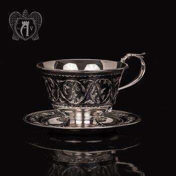 """Чашка с блюдцем из серебра """"Каприз"""""""