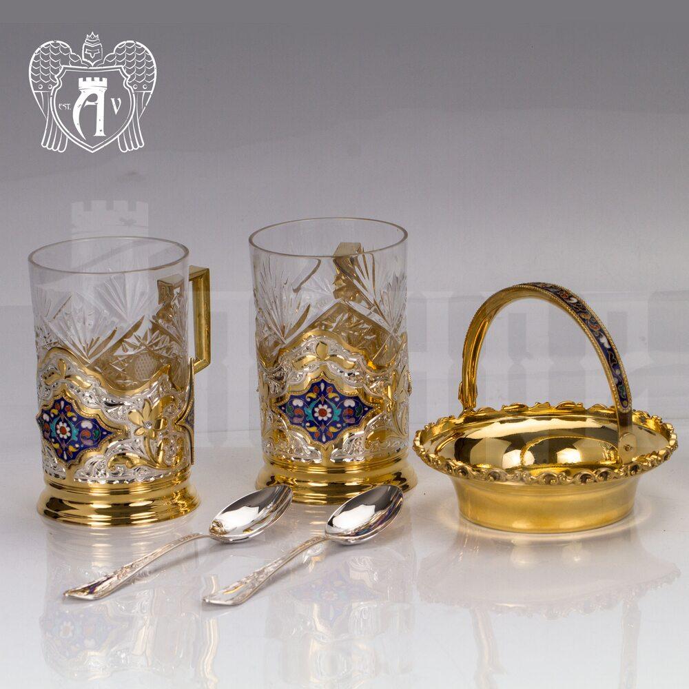 Набор чайный серебряный «Сильван» Апанде, 1110013540