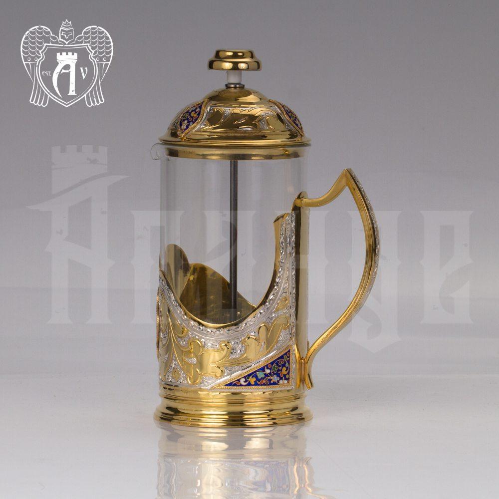 Серебряный френч-пресс с двумя подстаканниками  для чая «Султан»  Апанде, 111049254