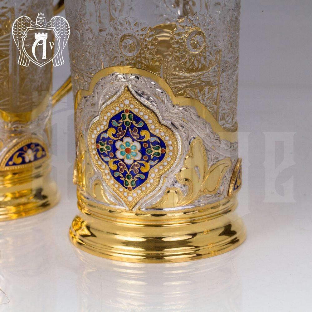 Набор из двух подстаканников  из серебра с эмалью «Султан» с золочением Апанде, 88000126