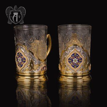 Набор из двух подстаканников  из серебра с эмалью «Султан» с золочением