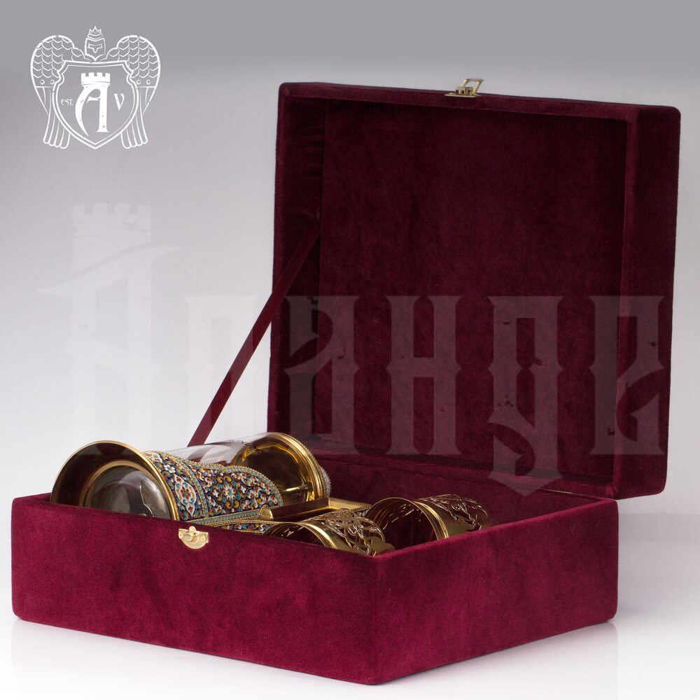 Серебряный френч-пресс с двумя подстаканниками  для чая «Сказка»  Апанде, 111049255