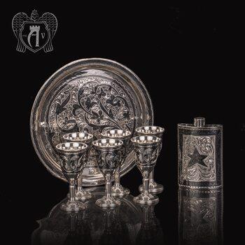 Серебряный  набор для водки и коньяка « Отчизна»
