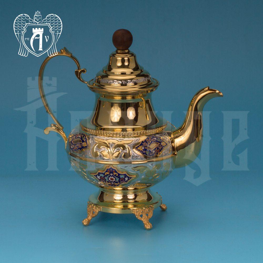 Чайник серебряный  «Вальмонт» с золочением и эмалью Апанде, 2500013