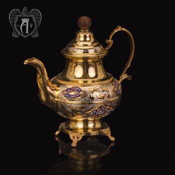Чайник серебряный  «Вальмонт» с золочением и эмалью