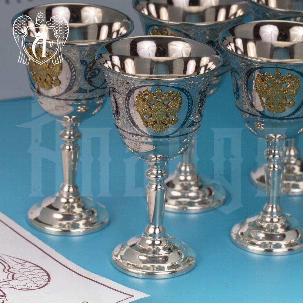 Набор рюмок из серебра с гербом  «Герб» Апанде, 75000195