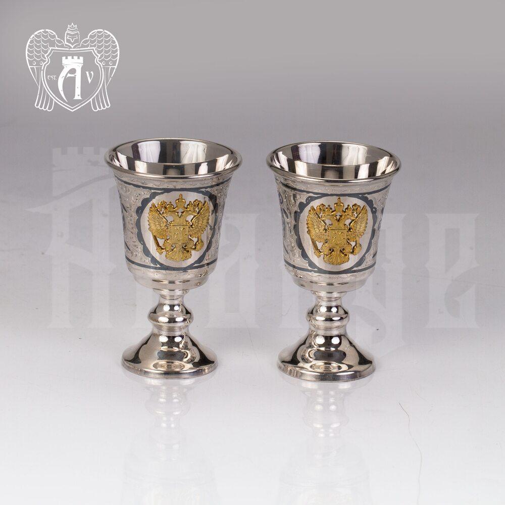Набор рюмок из серебра с гербом  «Герб России» Апанде, 75000197