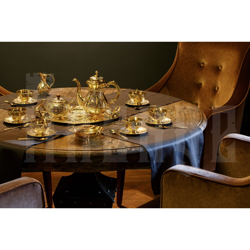 Серебряный сервиз чайный  с горячей эмалью  «Клод»
