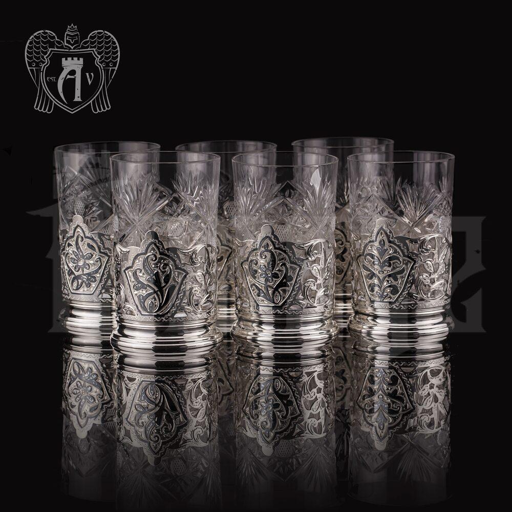 Набор подстаканников из  серебра «Вьюн» Апанде, 8800300