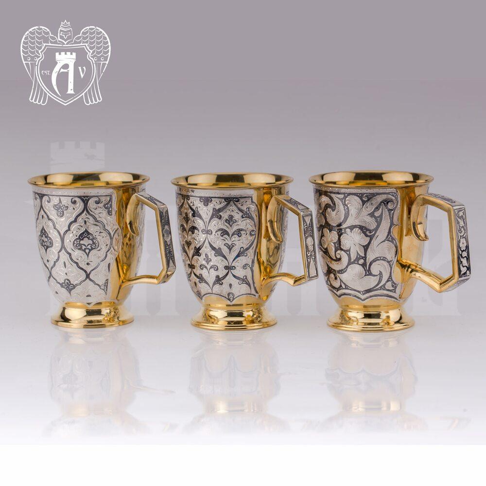 """Кружка из серебра """"Эдельвейс"""" с золочением Апанде, 32009140"""