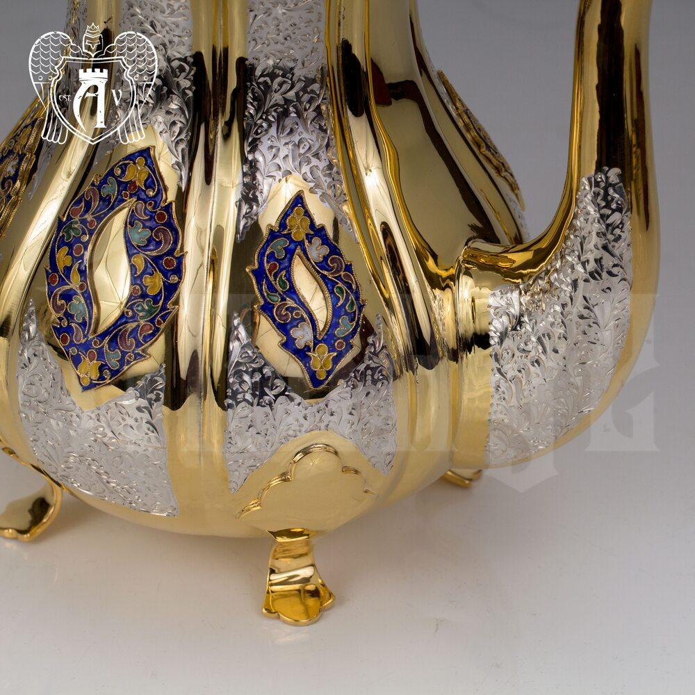 Чайник серебряный  «Клод» с золочением и эмалью Апанде, 250008