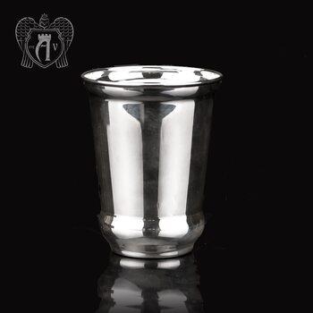 Серебряный стакан «Здоровье» + без крышки из чистого серебра 999 пробы