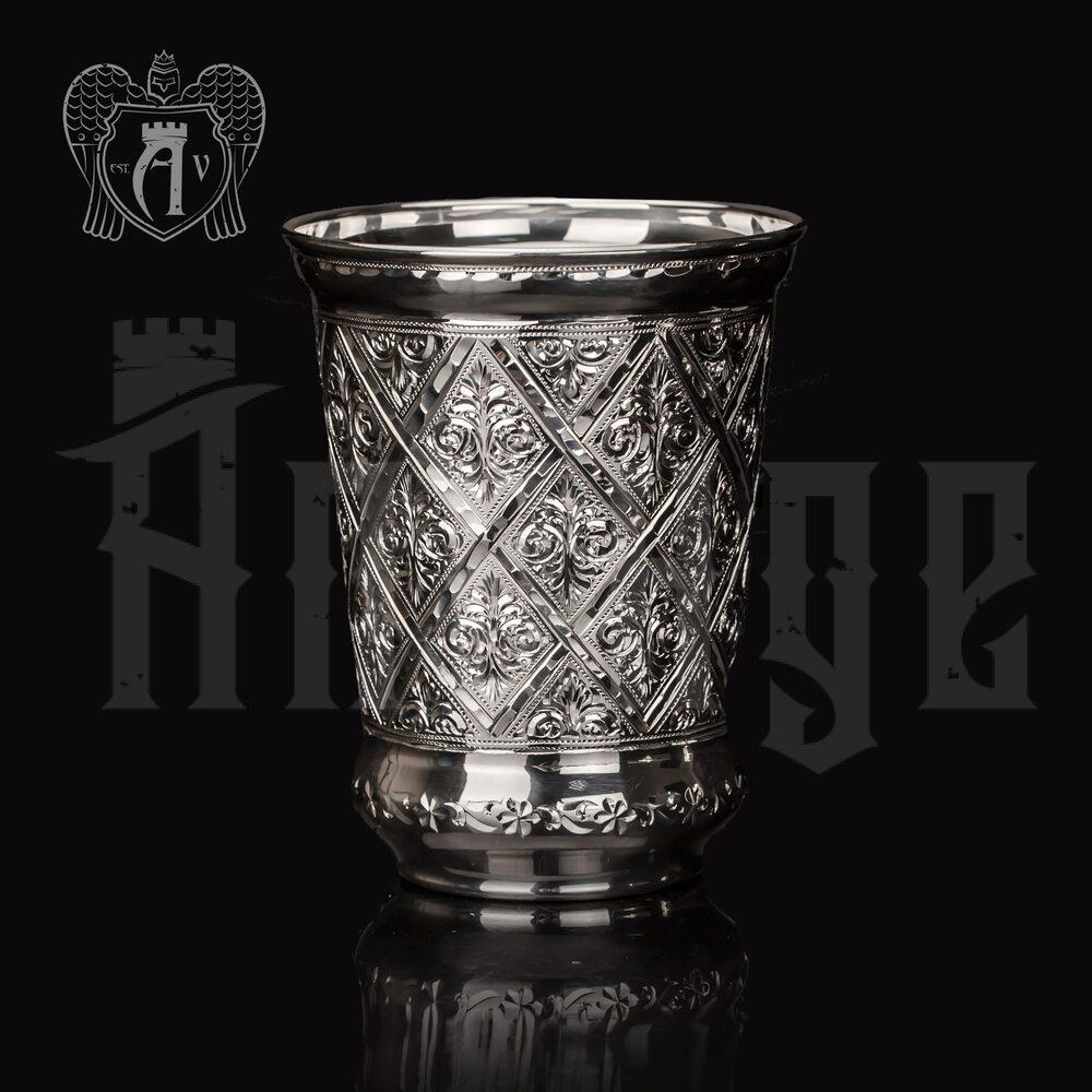 Серебряный стакан «Сапфир» без крышки из чистого серебра 999 пробы Апанде, 71000555