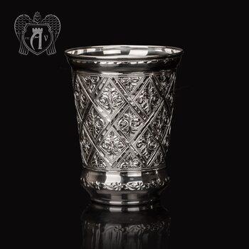Серебряный стакан «Сапфир» без крышки из чистого серебра 999 пробы