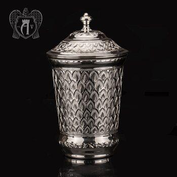Серебряный стакан «Аквамарин» из чистого серебра 999 пробы