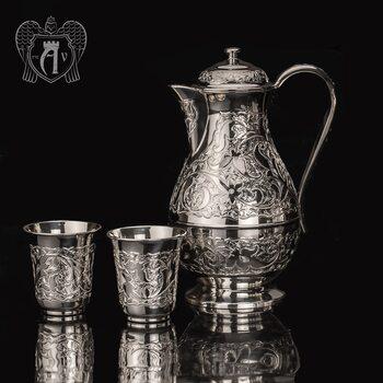 """Кувшин и два стакана из серебра 925 пробы """"Райский родник"""" без черни"""