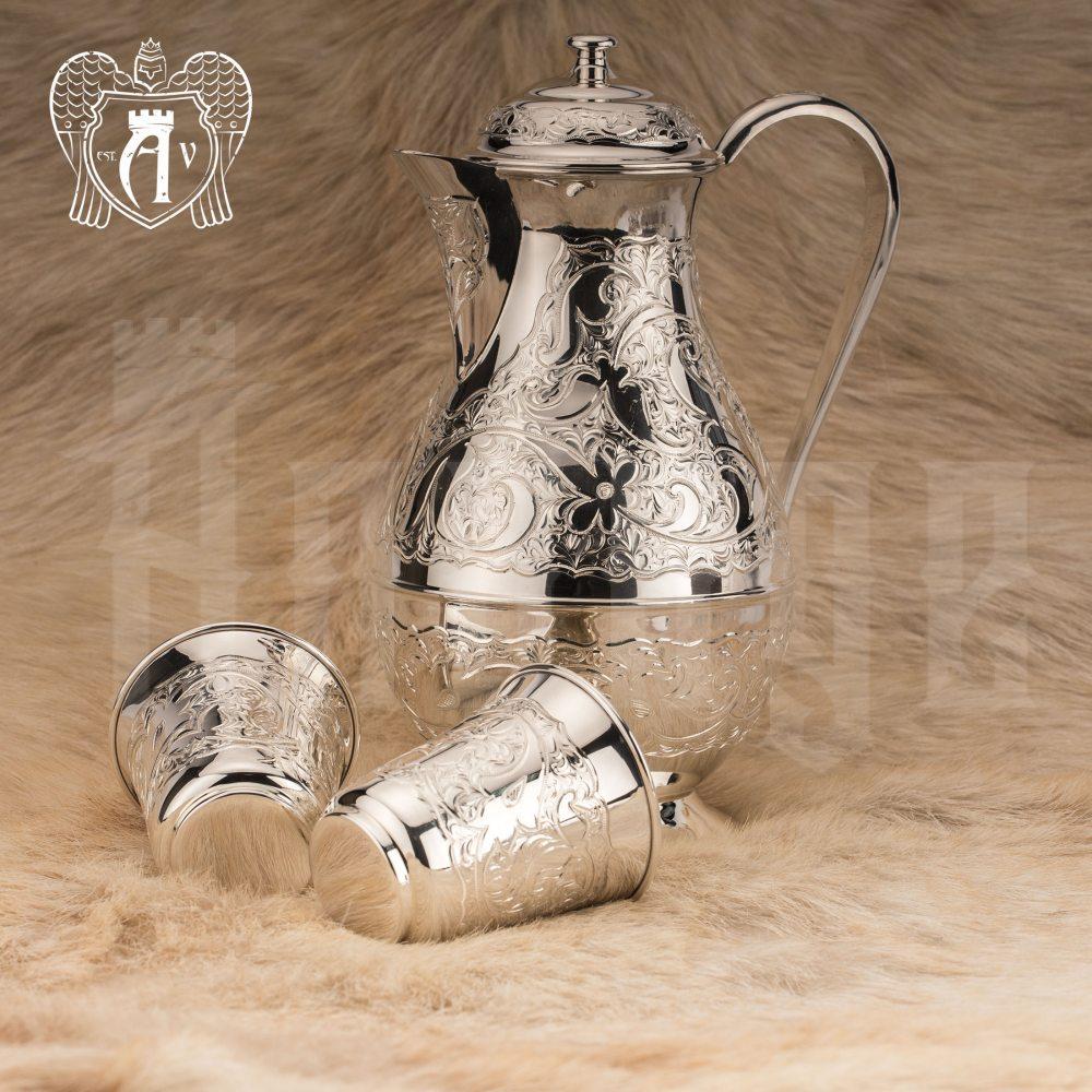 """Кувшин и два стакана из серебра 925 пробы """"Райский родник"""" без черни  Апанде, 11100090"""