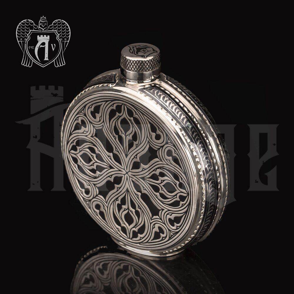 Серебряная фляжка круглая  «Велес» с холодной эмалью» Апанде, 72000169