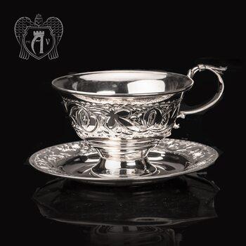 """Чашка с блюдцем из серебра 925 пробы """"Сияние"""""""