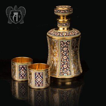 Серебряный сервиз для виски с эмалью «Наполеон»