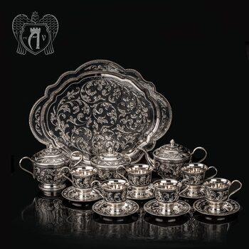 Серебряный сервиз чайный «Кардинал»