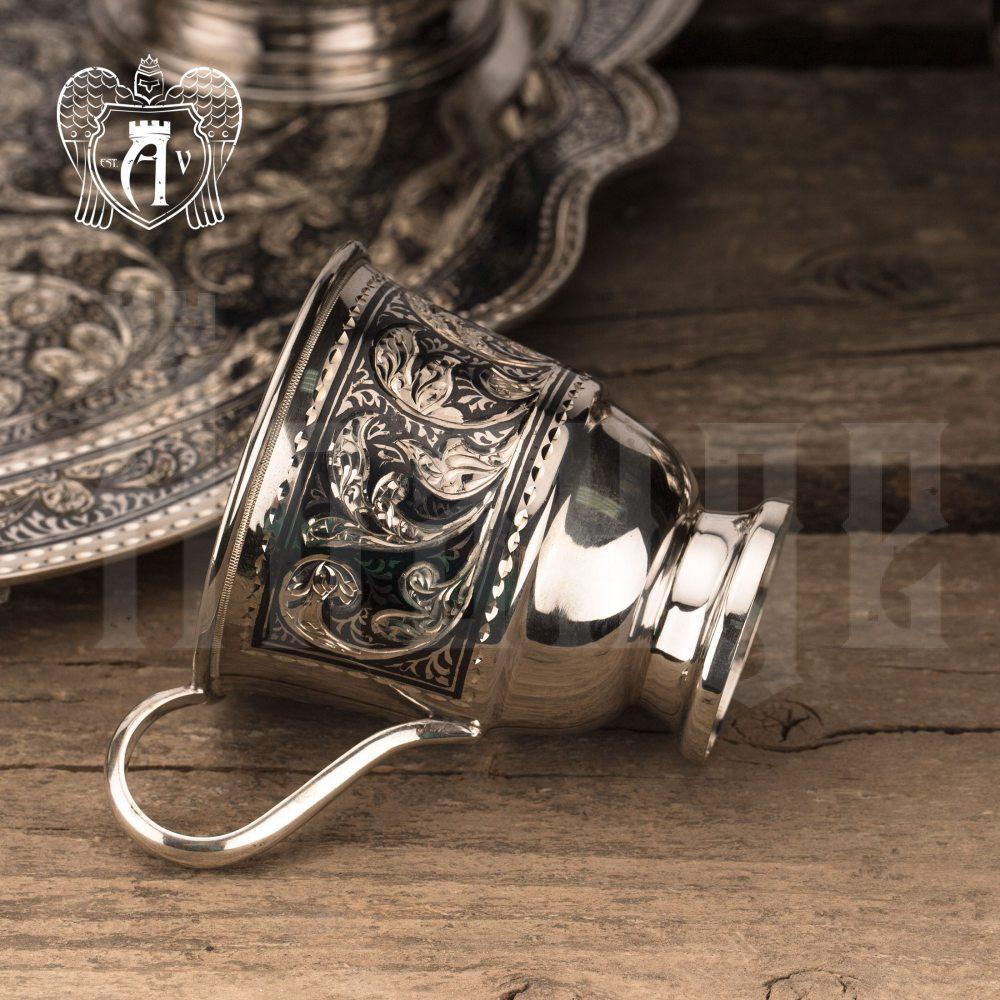 """Чашка с блюдцем из серебра """"Кардинал"""" Апанде, 32009148"""