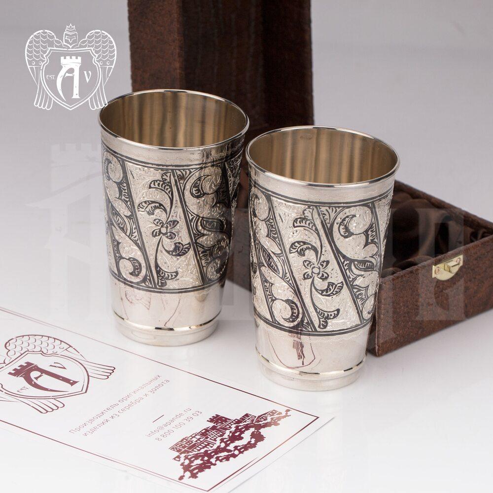 Серебряные стаканы «День и ночь» набор 2 шт Апанде, 71000415
