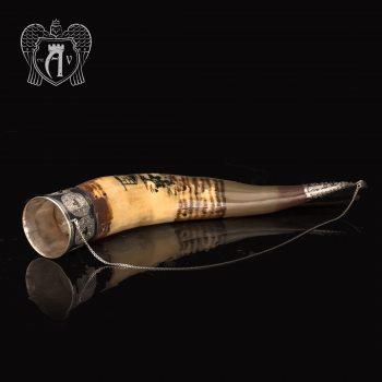 Большой рог для вина серебряный «Кубачи»