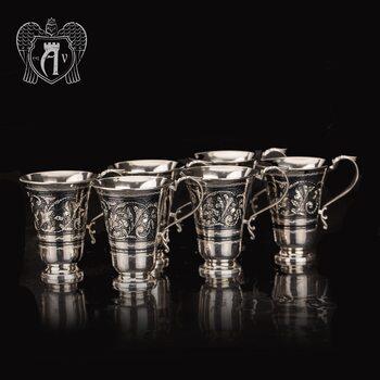 Набор серебряных кружек «Лилия» 6 штук