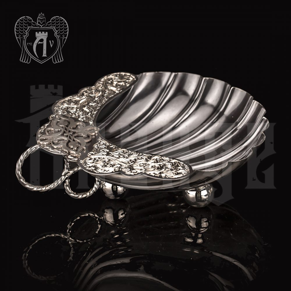 "Серебряная конфетница/икорница ""Ракушка"" с чернением Апанде, 270007"