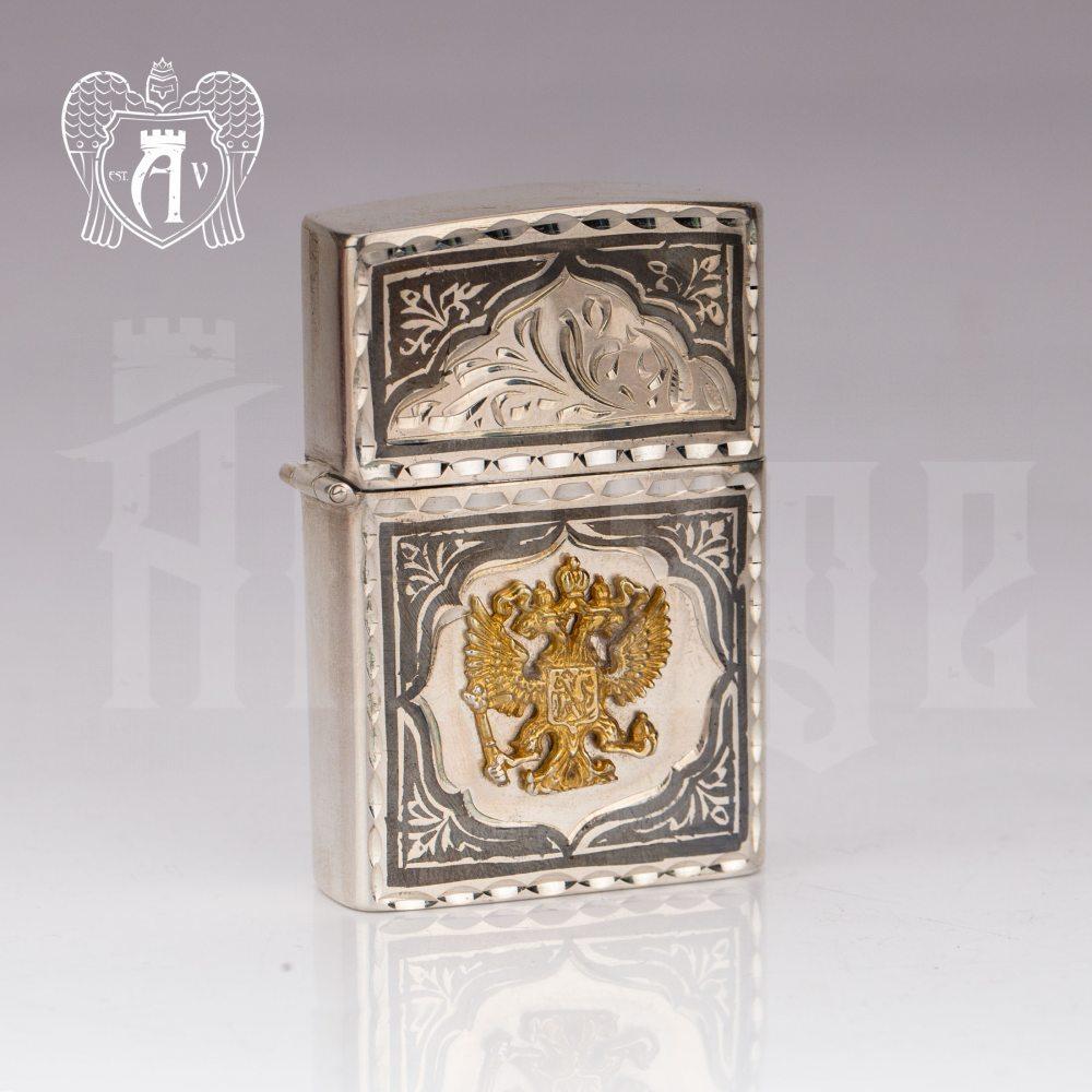 Зажигалка из серебра  «Россия»  Апанде, 5500016