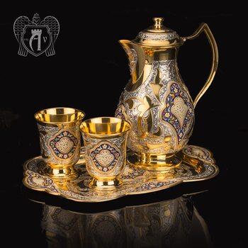 Сервиз для напитков из серебра  «Артемида» с золочением и эмалью