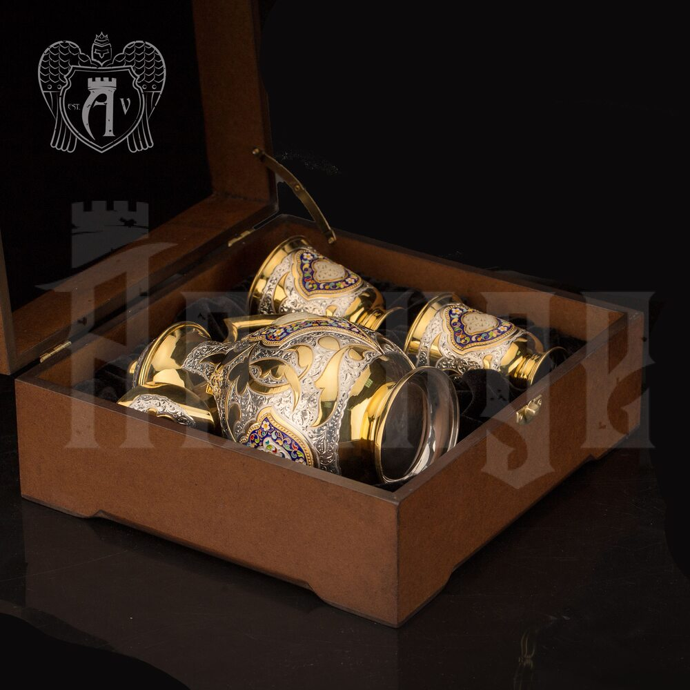 Сервиз для напитков из серебра  «Артемида» с золочением и эмалью Апанде, 111003175