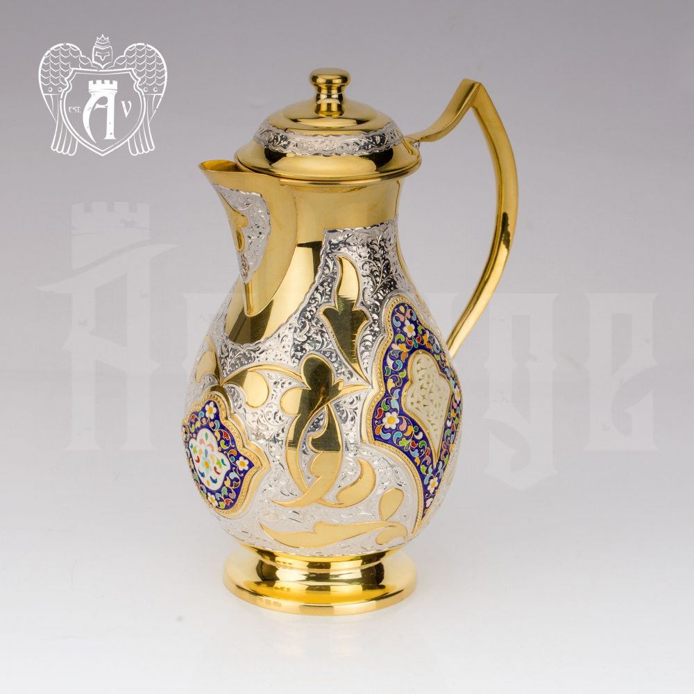 Кувшин серебряный  «Артемида» с золочением и горячей эмалью Апанде, 540044