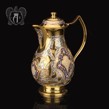 Кувшин серебряный  «Артемида» с золочением и горячей эмалью