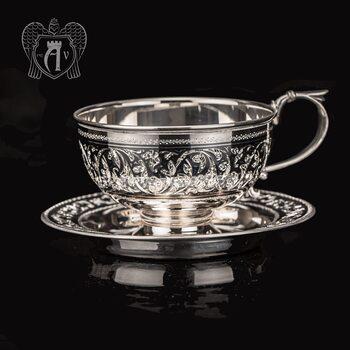 "Чашка с блюдцем из серебра ""Василиса"""
