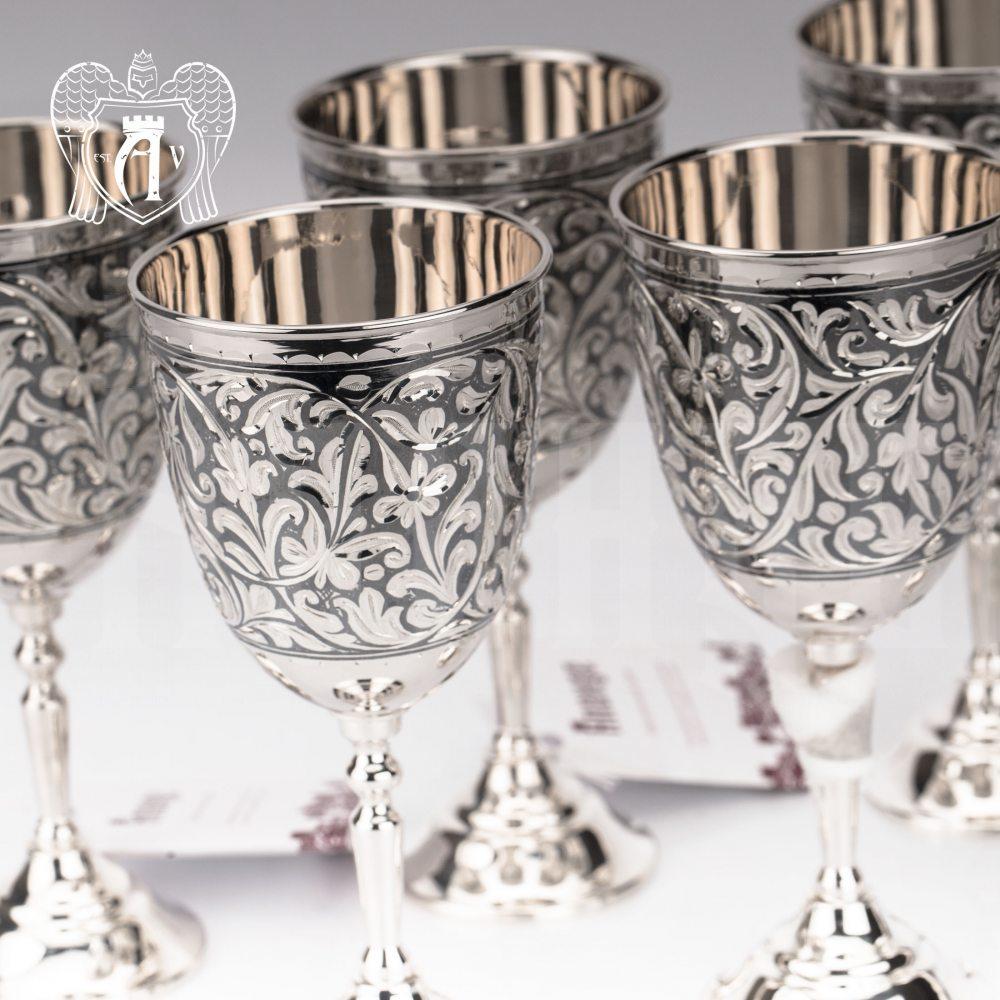 Серебряные бокалы «Жасмин» набор 6 шт