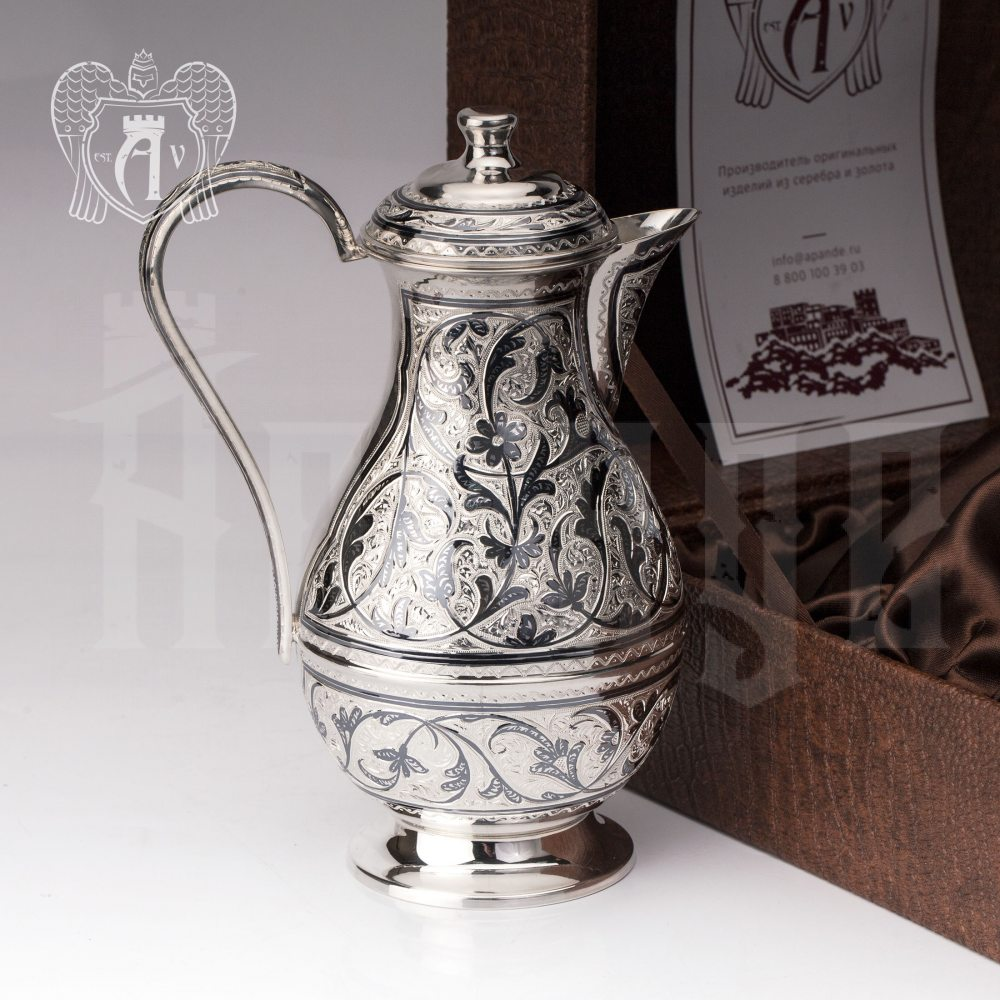 Кувшин из серебра 925 пробы  «Виноградная лоза»