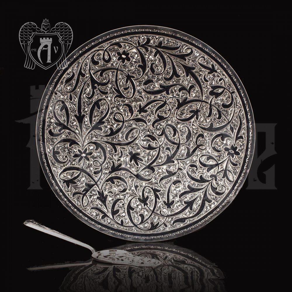 Блюдо из серебра и лопатка для торта  «Маркиза»
