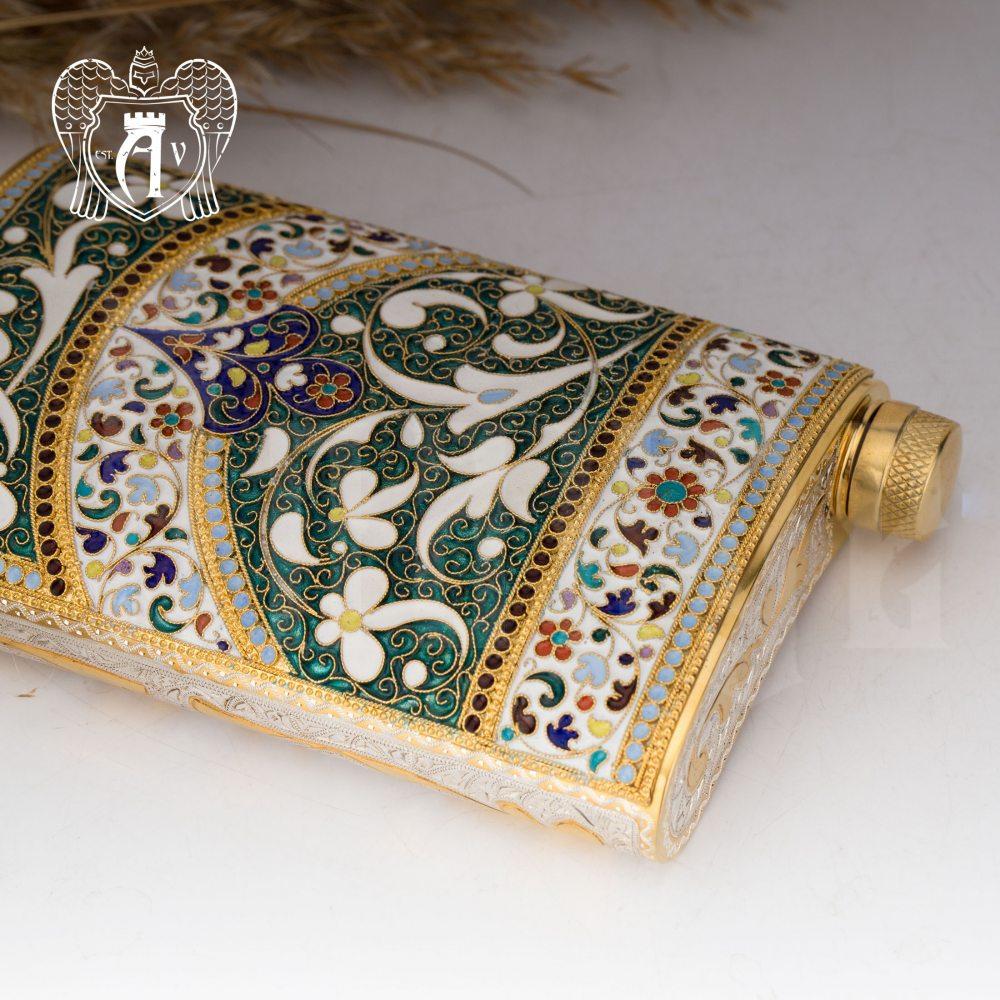 Серебряная фляжка  «Балин» с позолотой и эмалью