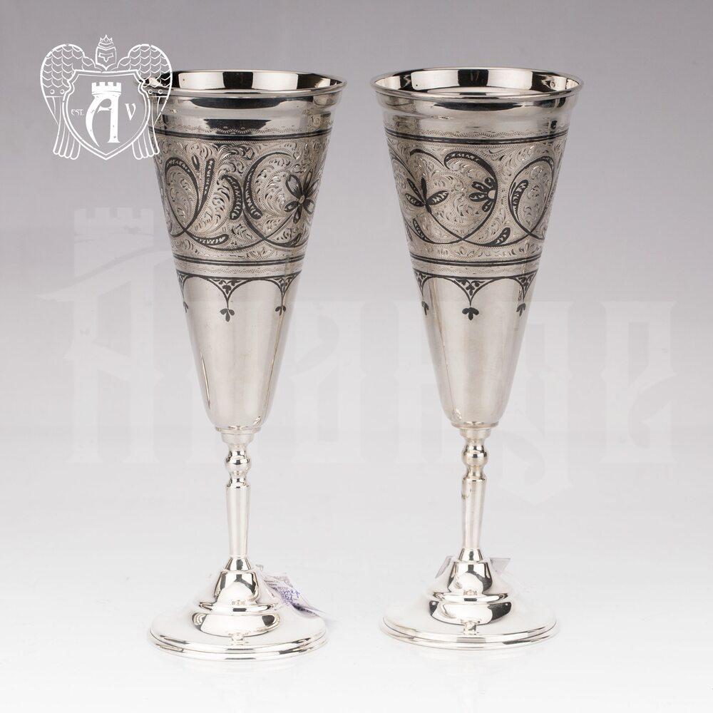 Большие бокалы из  серебра  «Колосс» 2 шт