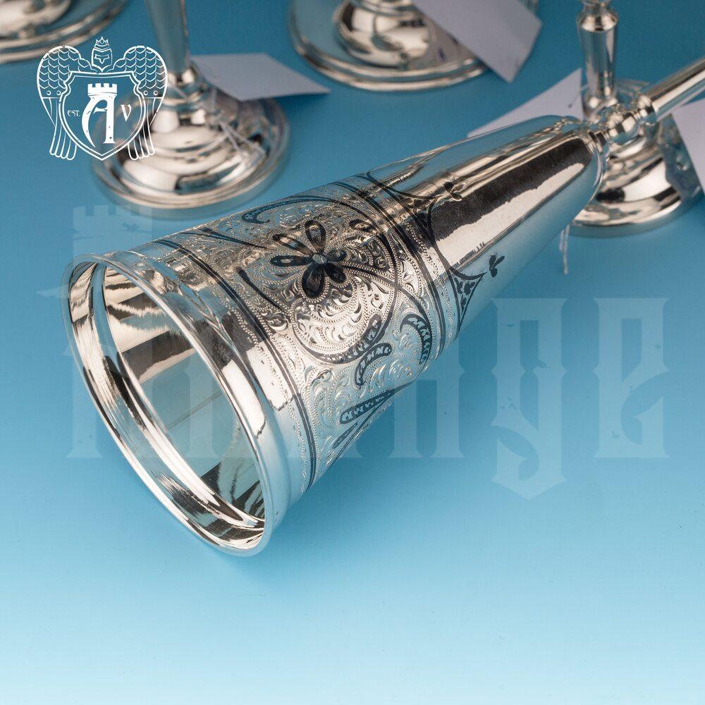 Бокалы из серебра «Колосс»  4 шт