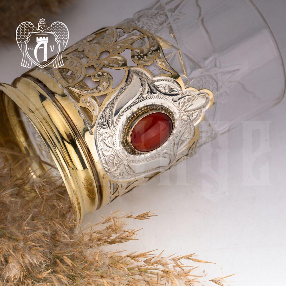 Подстаканник  из серебра с золочением с натуральным камнем «Сердолик»