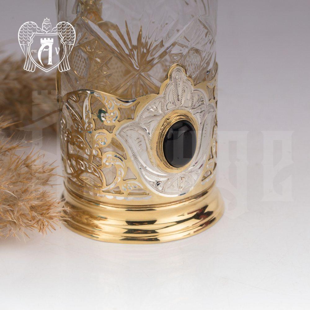 Подстаканник  из серебра с золочением с натуральным камнем «Агат»