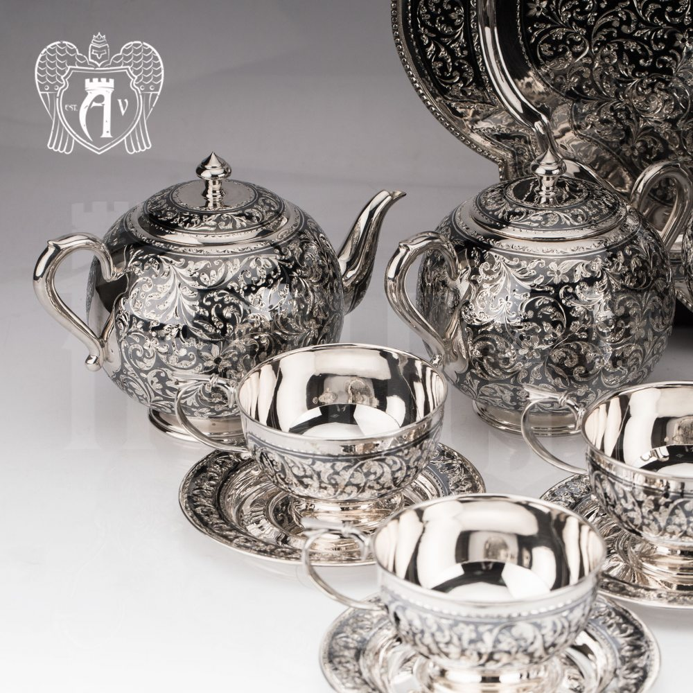 Сахарница серебряная с ручками  «Флоранж»
