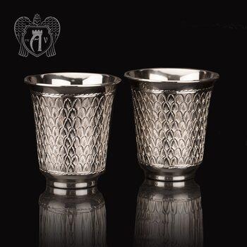 Серебряные стаканы «Елочка» без черни 2 шт