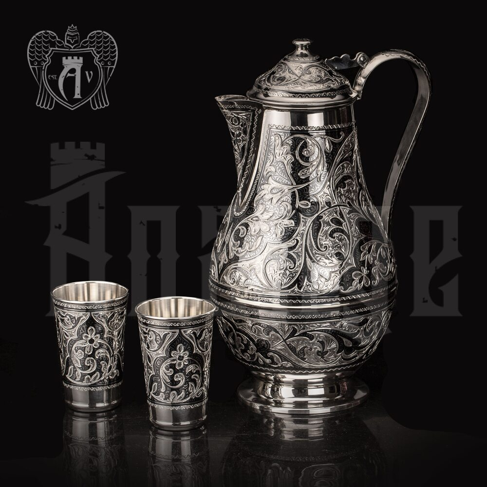 Кувшин и два стакана  из серебра  «Абердин»