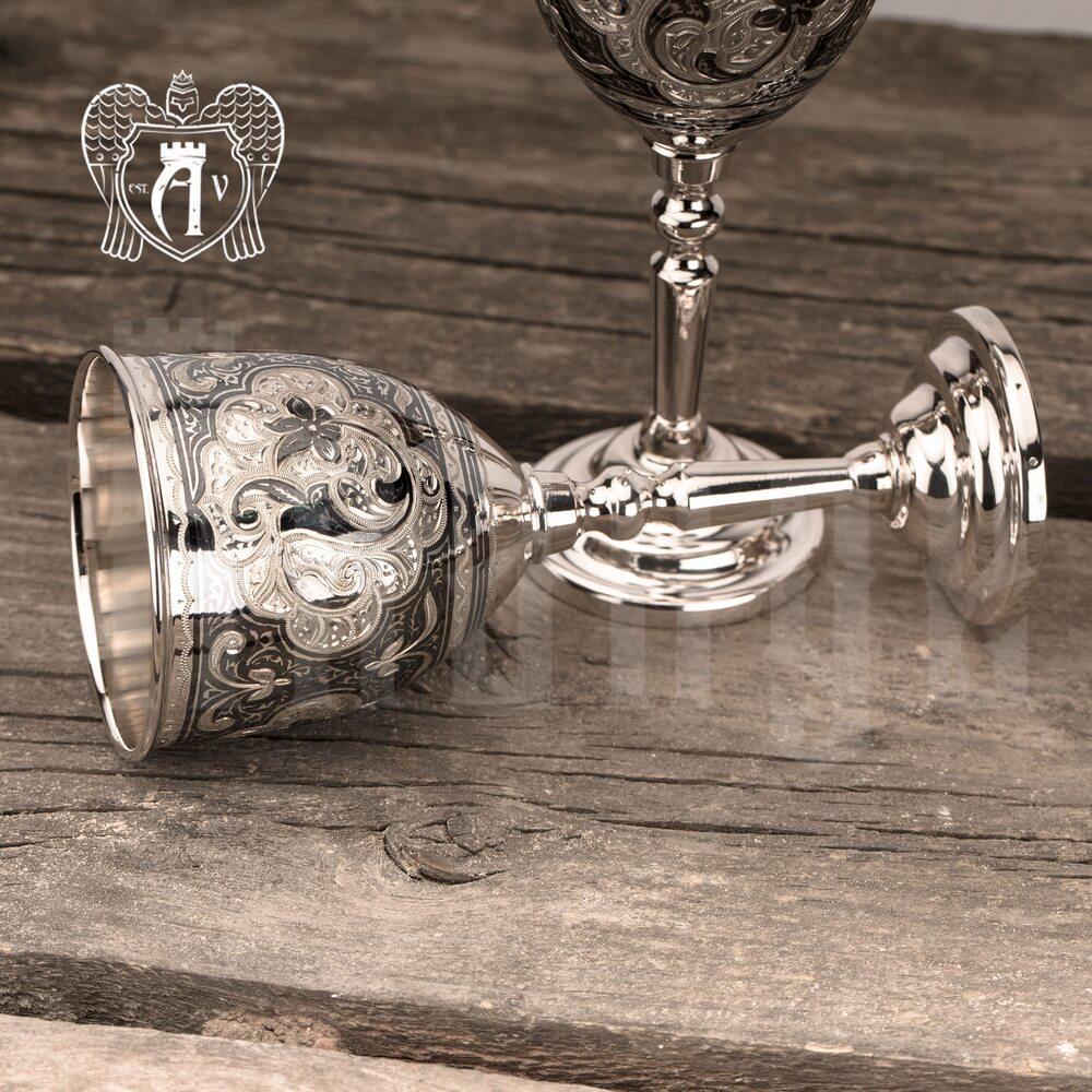 Бокалы из  серебра  «Камелия» 2 шт